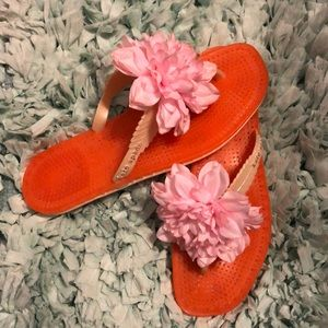 ❤️Kate Spade Orange jelly sandals with pink flower